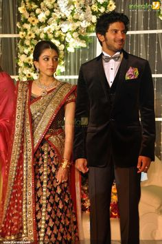 Discover thousands of images about dulquar salman wife Wedding Reception Outfit, Couple Wedding Dress, Groom Wedding Dress, Saree Wedding, Wedding Dresses, Indian Wedding Gowns, Indian Bridal Sarees, Indian Bridal Fashion, Indian Dresses