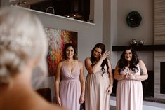First-look-with-bridesmaids-on-a-wedding-day