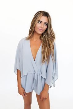 Grey Cape Sleeve Romper - Final