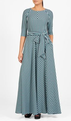 Eshakti stripe tie maxi dress