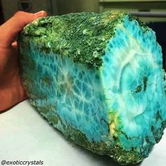 "Larimar, also called ""Stefilia's Stone"", is a rare blue variety of the silicate mineral pectolite found only in the Dominican Republic, in the Caribbean. Its coloration varies from white, light-blue, green-blue to deep blue."
