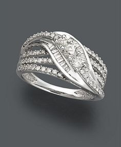 Diamond Ring, 14k White Gold Diamond Three Station Ring (3/4 ct. t.w.)