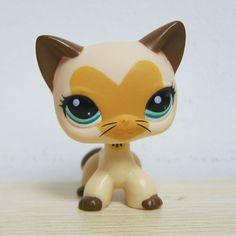 Littlest Pet Shop Cream Tan Brown Short Hair Cat Heart Face Kitty Rare LPS # 3573
