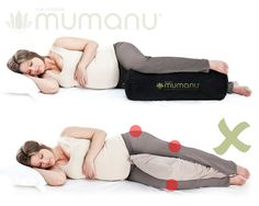 The pillow between the knees is an urban myth. It puts too much pressure on the bottom leg, the knee joint twists which then twists the hip joint and pulls on the lower back. Sleeping with the pillow in foetal position further pulls on the buttocks and lower back muscles and if not supported correctly makes your spine twist. The Mumanu pillow relieves these problems by keeping your hip, knee and foot at the same height. It's self-inflating so you adjust it to fit you perfectly…