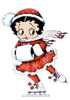Little Betty is ice-skating in her Christmas outfit ~ #bettyboop #illustration ✿⊱╮