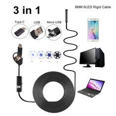 #Banggood 3-in-1 8mm 6LED Rigid Waterproof Endoscope USB Type C Borescope Inspection Camera 1/2/3.5/5/10M (1158484) #SuperDeals