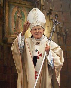 ANTONIO GUZMAN CAPEL - Retrato de São João Paulo II Óleo sobre tela - Basílica Nacional de Washington