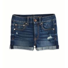 $39, Navy Denim Shorts: American Eagle Outfitters Hi Rise Denim Shorts. Sold by American Eagle Outfitters. Click for more info: https://lookastic.com/women/shop_items/38285/redirect