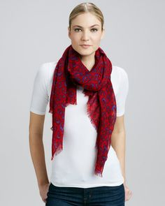 Leopard-Print Scarf, Cherry/Wine by Tory Burch at Neiman Marcus.  Want want want this for fall <3