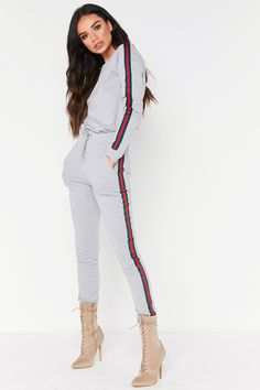 Victoria Grey Side Stripe Crew Neck Loungewear Set