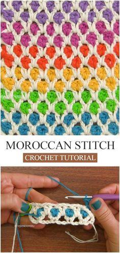 How To Crochet Moroccan Stitch How To Crochet Moroccan Stitch,Crochet & Knit How To Crochet Moroccan Stitch. Learn how to crochet this flashy Moroccan stitch using the step by step crochet tutorials in English. Stitch Crochet, Crochet Motifs, Crochet Stitches Patterns, Knitting Stitches, Free Crochet, Stitch Patterns, Marley Crochet, Different Crochet Stitches, Knitting Projects