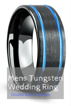 Mens black tungsten wedding ring designed with a brushed textured top and two carved blue channel running through the top of the ring. The interior has a high polish finish for ultimate comfort.