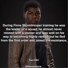 I thought Finn was special... didn't think he was just better at killing innocent people... sad.  Another awesome fact brought to you by @starwarsfacts_  Q: Do you think Finn could be a Jedi?  He did sanitation when he was working on starkiller base everyone is given a sort of chore or duty they have to do when they aren't training or in battle Finns was sanitation.  #starwarsfacts  #starwarsnews #starwarsfacts #jamesearljones #darthvader #rogueone #theforceawakens #starwarsfan #geek #geeky…