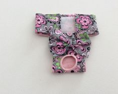 Female Dog Diaper - Britches - Dog Panty / Panties-Pink and Gray Floral - Available in all sizes