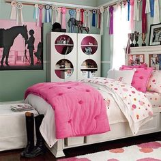 bright, modern teen-appropriate horse themed bedroom.