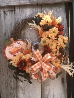 Fall Floral Grapevine Wreath for Front Door, Fall wreaths for front door, farmhouse wreath, Fall Pumpkin wreath, Fall Door Decor, Orange by DesignsbyDebbyOhio on Etsy Pumpkin Wreath, Wreath Fall, Summer Wreath, Grapevine Wreath, Primitive Wreath, Fall Door Decorations, Country Wreaths, Outdoor Wreaths, Welcome Wreath