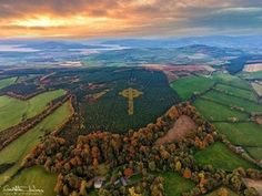 Donegal forrester Liam Emmery created a secret cross with larch trees that turn yellow in Autumn, undiscovered until 2016. Sadly he passed in 2000, thank you Liam for this gift ☺ : ireland