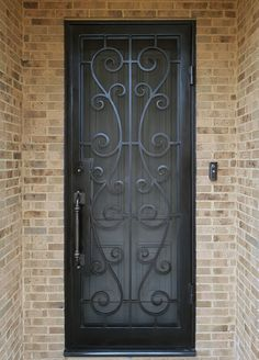 Customized wrought iron security doors make a strong and secure entrance for your home and create some of the most inviting entryways. Wrought Iron Security Doors, Wrought Iron Doors, Security Gates, Main Entrance Door Design, Door Gate Design, Grill Gate Design, Railing Design, Door Grill, Iron Front Door
