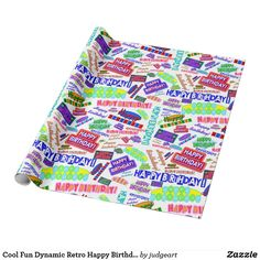 Cool Fun Dynamic Retro Happy Birthday Pattern Wrapping Paper