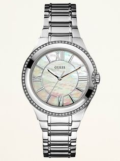 Guess Rose Gold Mother of Pearl Dial for Women Watch - Kanary Watches Michael Kors, Stainless Steel Bracelet, Quartz Watch, Gold Watch, Mineral, Women's Accessories, Bracelet Watch, Jewelry Watches, Rose Gold