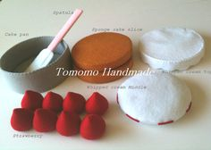 ETSY  Pretend food - Play food - Felt   food ,    How to make  the Strawberry cake set.