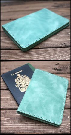 Passport Leather Cover in Mint Green. Great wedding gift for bridesmaids. wedding color mint green. Passport holder, Passport Wallet, Leather Passport Cover, Groomsmen gift