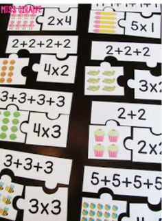Repeated addition games students can play during math centers like these fun arrays puzzles that make introducing multiplication and equal groups exciting for kids Math For Kids, Fun Math, Math Games, Math Activities, Math Math, Leadership Activities, Word Games, Math Worksheets, Math Multiplication