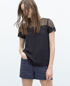 Image 1 of GUIPURE LACE TOP from Zara