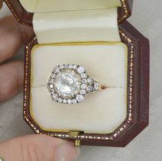Vintage Art Deco Inspired 2.20 Ct. Rose Cut Halo Diamond Engagement Ring on 14K Rose, Yellow & White Gold by AnyeJewelry on Etsy https://www.etsy.com/listing/237564097/vintage-art-deco-inspired-220-ct-rose