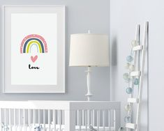 Rainbow nursery ideas from Sunny and Pretty. Rainbow art print perfect for a sweet and cute nursery decor. Nursery prints to complete your decor project. Our printable wall art is made with love and is designed to reflect your decor style, encourage your little one's imagination and create heartwarming memories.🖤 Get excited about decorating for your little one! #sunnyandpretty #rainbownurseryprint #rainbownurserywallart Space Themed Nursery, Baby Girl Nursery Decor, Nursery Wall Decor, Nursery Ideas, Nursery Themes, Nursery Artwork, Nursery Paintings, Kids Room Wall Art, Nursery Prints