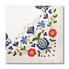 Polish Folk Art Kashubian Embroidery Luncheon Napkins, Set of 20