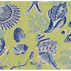 Green Shells Hand Hooked Rug Beach decor