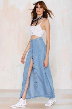 Field of Dreams Denim Maxi Skirt