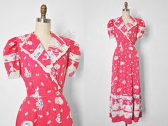 Vtg 1940's Pink Cotton House Dress with Cats and Dogs Print • Lounging Robe • Boudoir Robe by BombyxVintage on Etsy https://www.etsy.com/listing/236992526/vtg-1940s-pink-cotton-house-dress-with