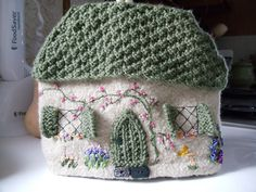 Knit and felted tea cozy.