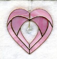 Pink Stained Glass Valentine Heart Suncatcher