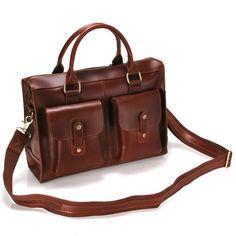 Handmade Genuine Leather Briefcase Laptop Messenger Bag - in Brown Hard Cowhide