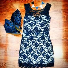 Lace Dress (outfit layout, lace outfit, wedges, necklaces, pretty dress, lace,)