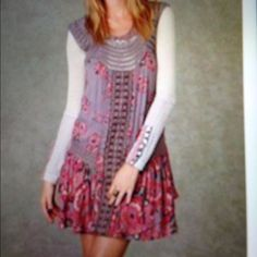 Free people Watercolor Memories dress Small Only the dress is for sale, but showed you can wear a thermal or sweater under if want. Took pics of some tearing under arm in chrochet. I have a pic of same area (on mannequin and laying flat). There is much smaller tear on other side that I can make an extra post to show more pics. Comment if interested. Watercolor Memories in taupe  Free People Dresses Asymmetrical