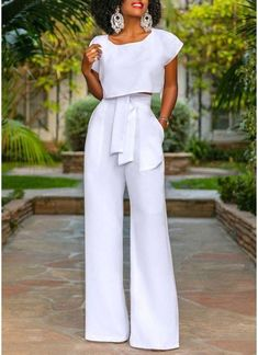All White 2 Piece Outfit Idea work it ma 2 piece wide leg trouser and cropped blouse set All White 2 Piece Outfit. Here is All White 2 Piece Outfit Idea for you. All White 2 Piece Outfit work it ma 2 piece wide leg trouser and cropped blou. Style Pantry, Long Jumpsuits, Womens Jumpsuits, Crop Blouse, 2 Piece Outfits, Wide Leg Trousers, White Fashion, Classy Outfits, African Fashion