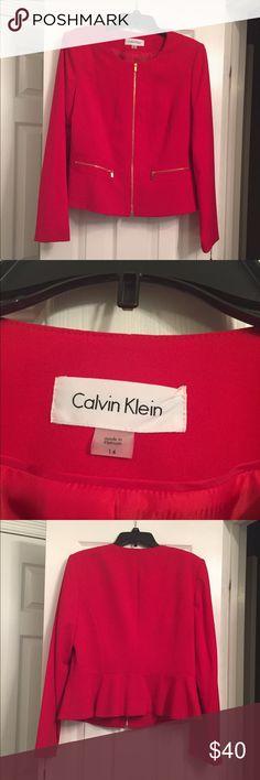 Calvin Klein Jacket-NEW!! NWT- Gorgeous red Calvin Klein Jacket with gold zippers. Calvin Klein Jackets & Coats Blazers