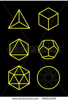 Sacred geometry - platonic solids - six elements - stock vector - air, earth, water, fire, spirit, cosmos - sphere, cube, dodecahedron, tetrahedron, icosahedron, octahedron - stock vector