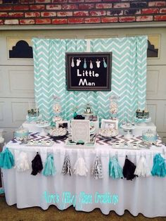 Elegant Blue and Gray Baby Shower Decorations