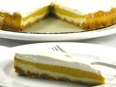 """Tired of the same old pumpkin pie year and year? Why not """"wow"""" your guests with this stellar dessert. It's pleasing to the eye as well as the palate. Adding pumpkin to this cheesecake makes it light and smooth. One bite of this crea"""