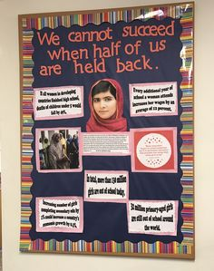 Malala women's empowerment board #malala #womensempowerment #girlseducation #RA #bulletinboards #feminsim History Bulletin Boards, College Bulletin Boards, History Classroom, Elementary Os, Ra Boards, Spanish Teaching Resources, Resident Assistant, How To Motivate Employees, Women In History