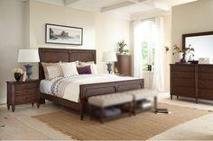Broyhill Furniture Cranford 4 Piece Panel Bedroom Set In Deep Brown 4800PSET