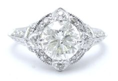 ROUND cut ANTQUE style diamond engagement ring by ninaellejewels, $3950.00