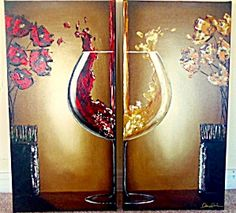 "$245 Giclee Painting Red White Wine Art Vase Flowers Leanne Laine  Giclee with handpainted texture and signed by the artist, Leanne Laine, on both of the 12 x 24""  panels -"