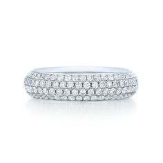 Four row pave eternity diamond ring from the Moonlight Collection in 18K white gold. Style No. 14384