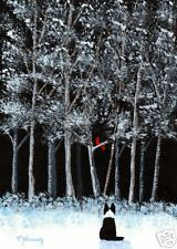 BORDER COLLIE Dog Winter Forest Snow Bird Folk Art PRINT Todd Young SEASON WISH